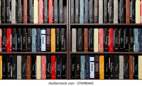Books with various subjects on wooden shelves