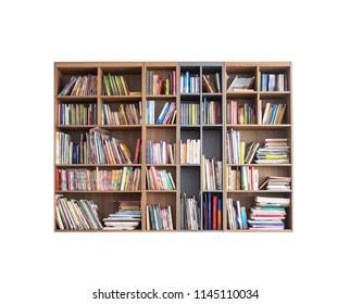Bookshelf, blurred effects on books cover, isolated with clipping path