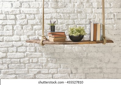 bookshelf interior yellow warp and brick wall concept