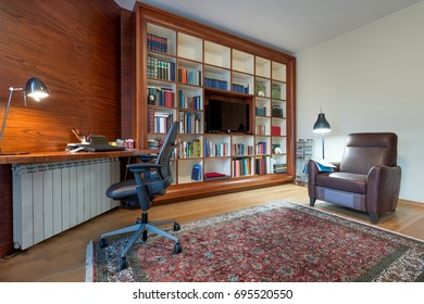 Bookshelf in the living room interior
