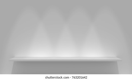 Bookshelf on a blank wall. 3D rendering.