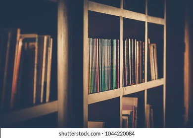 Bookshelf in public library. Film tone style.