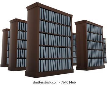 bookshelves isolated on white 3d render