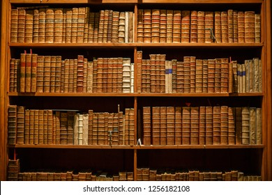 Bookshelves in the old library