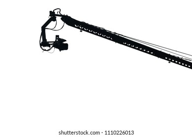 Boom camera silhouette isolated on white background. This has clipping path.