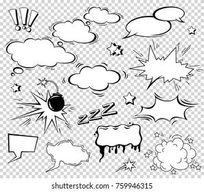 Boom effect set design for comic book. Comic Book Bang cloud, pow sound symbol, bomb pow. Comic speech bubbles set.