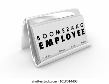 Boomerang Employee Returning Worker Business Card 3d Illustration