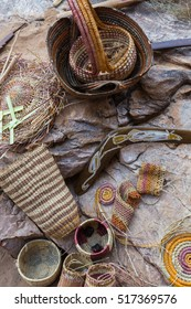 Boomerang and traditional baskets weaved by Aboriginal people, Northern Territory
