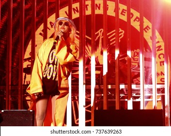 """Boomtown Fair Festival - August 13th 2017:  British rapper M.I.A. Mathangi """"Maya"""" Arulpragasam performing on stage at Boomtown Fair, Matterley Bowl, August 13, 2017, Winchester, Hampshire UK"""