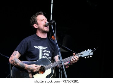 Boomtown Fair Festival - August 13th 2017: British singer songwriter Frank Turner performing on stage at Boomtown Fair, Matterley Bowl, August 13, 2017, Winchester, Hampshire UK