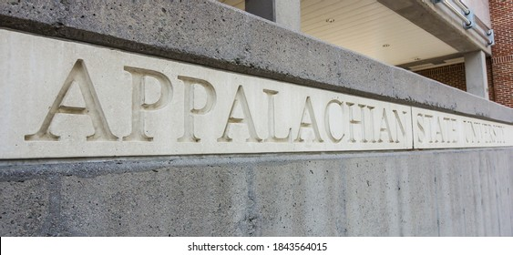 BOONE, NC, USA - SEPTEMBER 18: Stone Sign at Appalachian State University on September 18, 2014 in Boone, North Carolina.