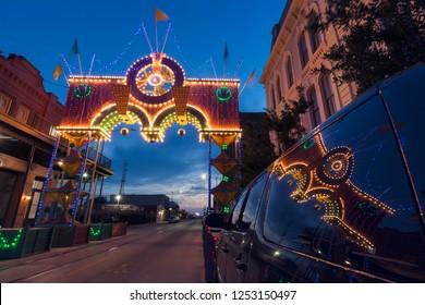 Boone Powell Arch in historic district. Galveston, Texas, USA.