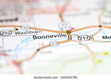 Booneville. Arkansas. USA on a geography map