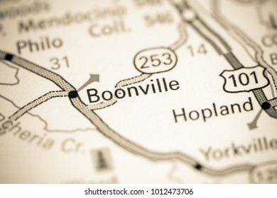 Boonville. California. USA on a map.