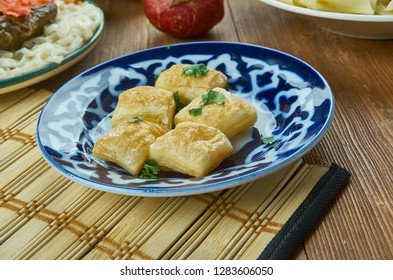 Boortsog,  fried dough food, Kyrgyz  cuisine, Traditional assorted dishes, Top view.