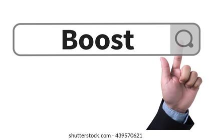 Boost man pushing (touching) virtual web browser address bar or search bar