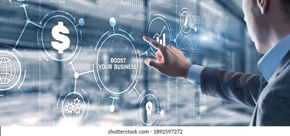 Boost your business on Virtual screen. Business Technology Internet and network concept.