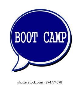 Boot camp white stamp text on blueblack Speech Bubble