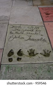 Boot prints and hand prints of John Travolta from 1980 at Graumann's Chinese Theater in Hollywood, California.
