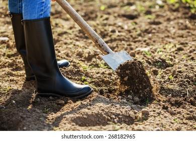 Boot shoveling ground in the garden