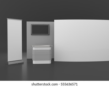 booth on black background. 3D rendering