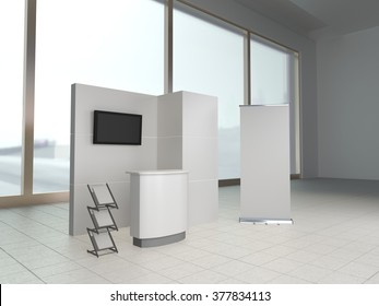 booth or stall against windows. 3D rendering