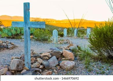 Boothill Graveyard at sunset. Tombstone Arizona - November 2, 2018