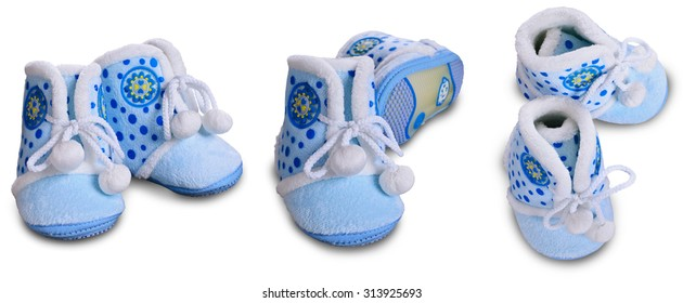 Booties from fur material blue with laces on a white background