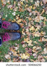 boots and autumn leaves
