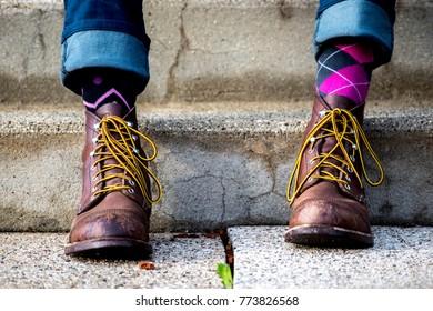 Boots and Mismatched Socks