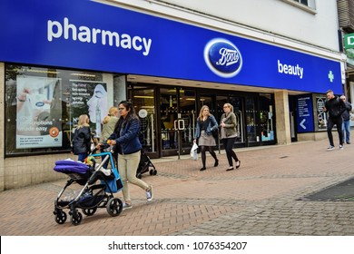 Boots pharmacy and beauty store - facade. Bournemouth, Dorset, United Kingdom. April 23, 2018.