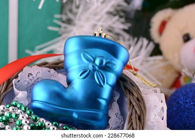 Boots of Santa Claus with Christmas decorations, Christmas background with new year decoration