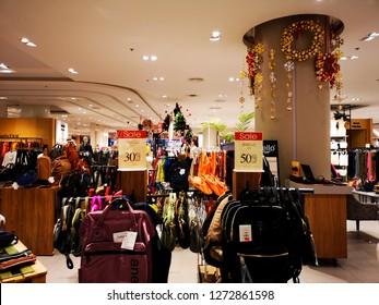 Boots selling bags, CentralPlaza Pinklao, Bangkok, Thailand, December 2018