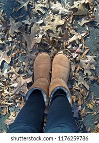 Boots standing in fallen leaves