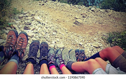 boots to walk in mountain of a family of five person with vintage effect