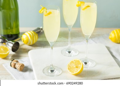 Boozy Bubbly Lemon French 75 Cocktail with Champagne