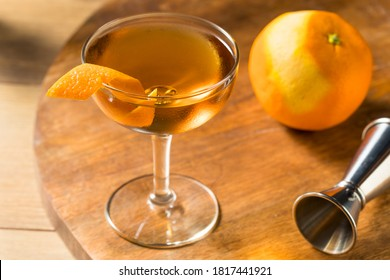 Boozy Classic Hanky Panky Cocktail with Gin and an Orange Garnish