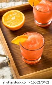 Boozy Frozen Negroni Slushy with Orange and Ice