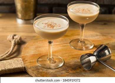 Boozy Refreshing Brandy Alexander Cocktail with Creme de Cacao