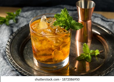 Boozy Refreshing Stinger Cocktail with Mint and Brandy