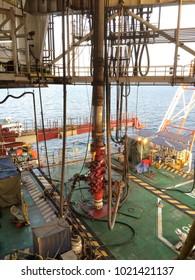 BOP from jack up rig set on main deck of wellhead platform