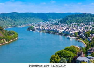 Boppard town aerial panoramic view from Gedeonseck viewpoint. Boppard is the town in the Rhine valley in Germany.