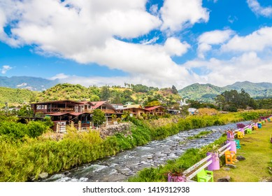 BOQUETE,PANAMA - MARCH 27,2019 - View at the Caldera river in Boquete. Boquete is a small mountain town in Panama.