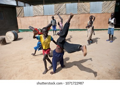 BOR, SOUTH SUDAN-DECEMBER 2, 2010: Unidentified children play in the village of Bor, South Sudan in this illustrative editorial.