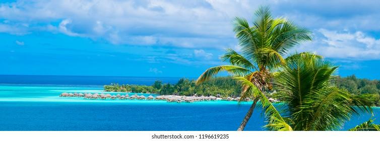 Bora Bora beach with over the water bungalows, Tahiti, French Polynesia
