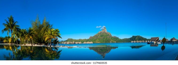 Bora Bora beach with reflection in the morning