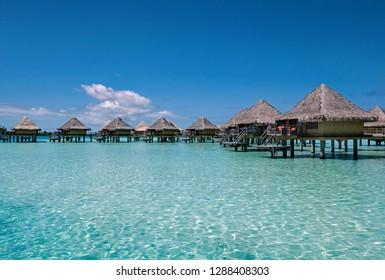 BORA BORA/FRENCH POLYNESIA - SEPTEMBER 4, 2018: Overwater bungalows at the Intercontinental Le Moana Bora Bora Resort