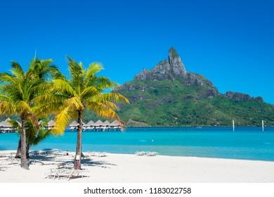 Bora Bora with cloudless blue sky, French Polynesia
