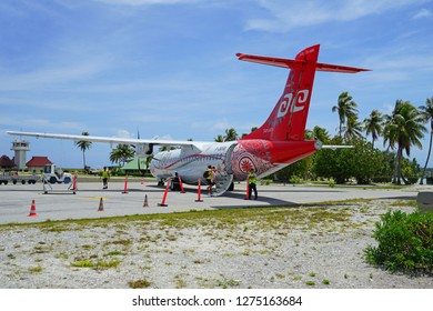 BORA BORA, FRENCH POLYNESIA -10 DEC 2018- View of an ATR regional jet airplane from the Air Tahiti airline (VT) at the Aeroport de Bora Bora Motu Mute airport (BOB) in French Polynesia.