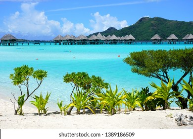 BORA BORA, FRENCH POLYNESIA -7 DEC 2018- View of the Le Meridien Bora Bora resort, a luxury beach hotel with overwater bungalows over the lagoon located in French Polynesia in the South Pacific.